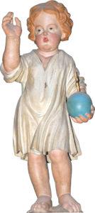 Statua lignea Gesù Bambino con il globo